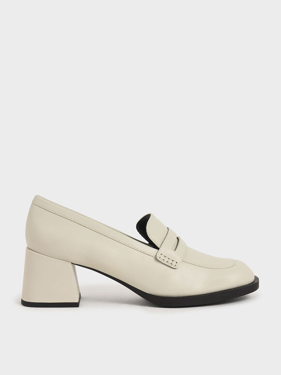 Penny Loafer Court Shoes, Chalk, hi-res