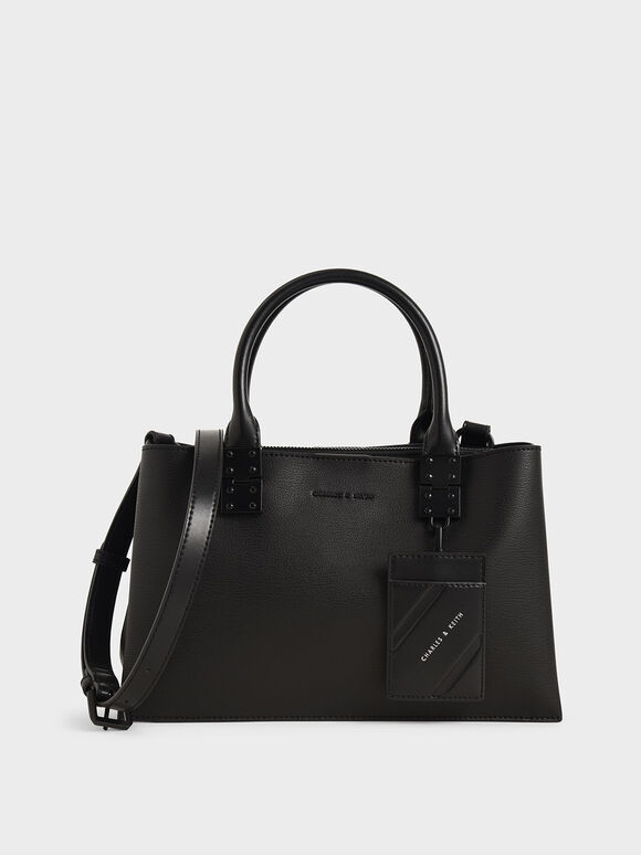 Double Top Handle Structured Bag, Ultra-Matte Black, hi-res