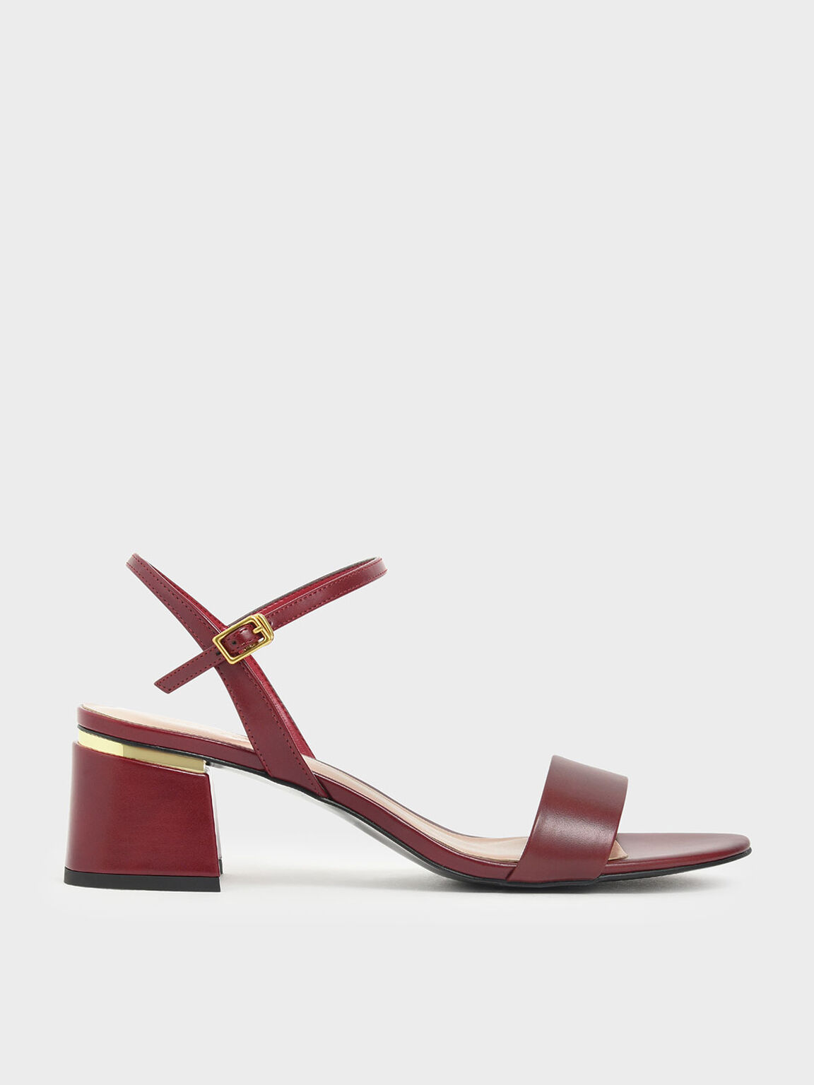 Open Toe Ankle Strap Block Heel Sandals, Red, hi-res