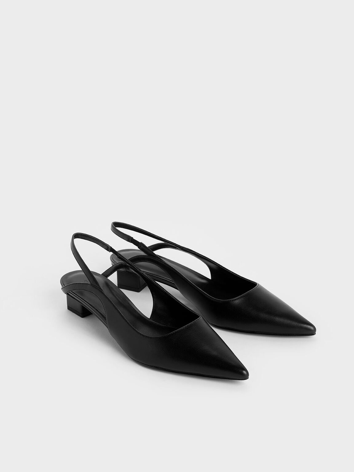 Low Block Heel Slingback Pumps, Black, hi-res
