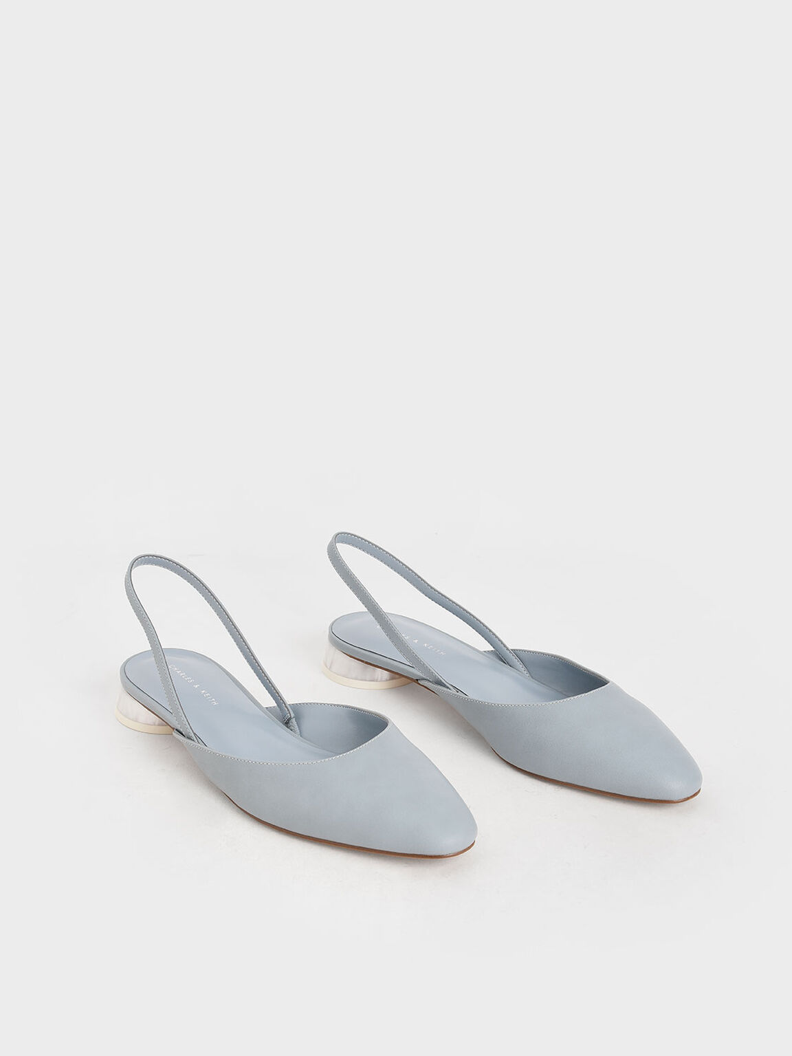Cylindrical Heel Slingback Pumps, Light Blue, hi-res