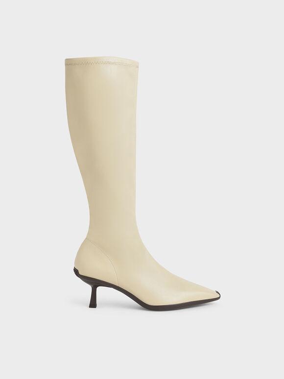Slip-On Kitten Heel Knee Boots, Sand, hi-res
