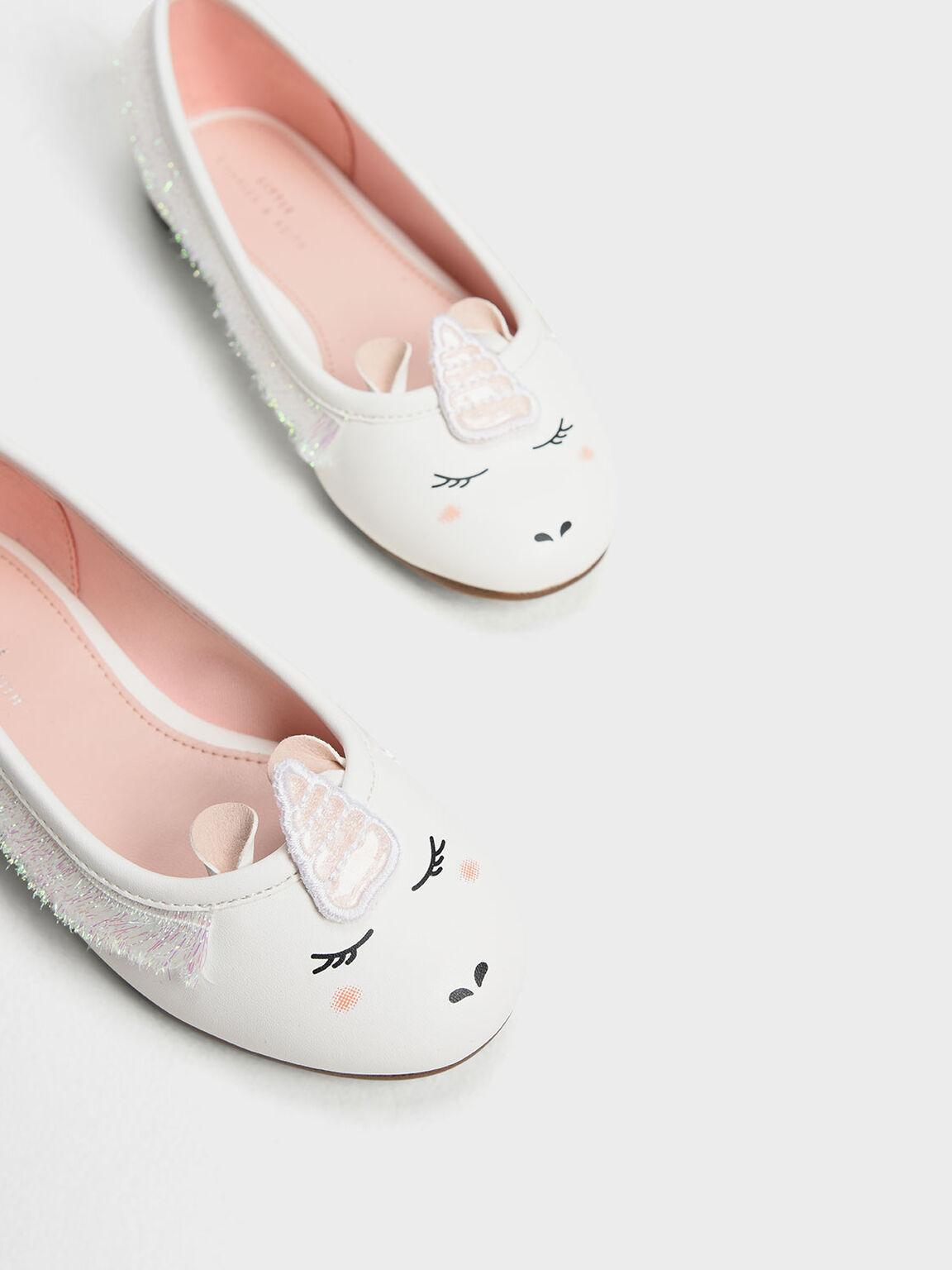 Kids' Unicorn Ballerinas, White, hi-res