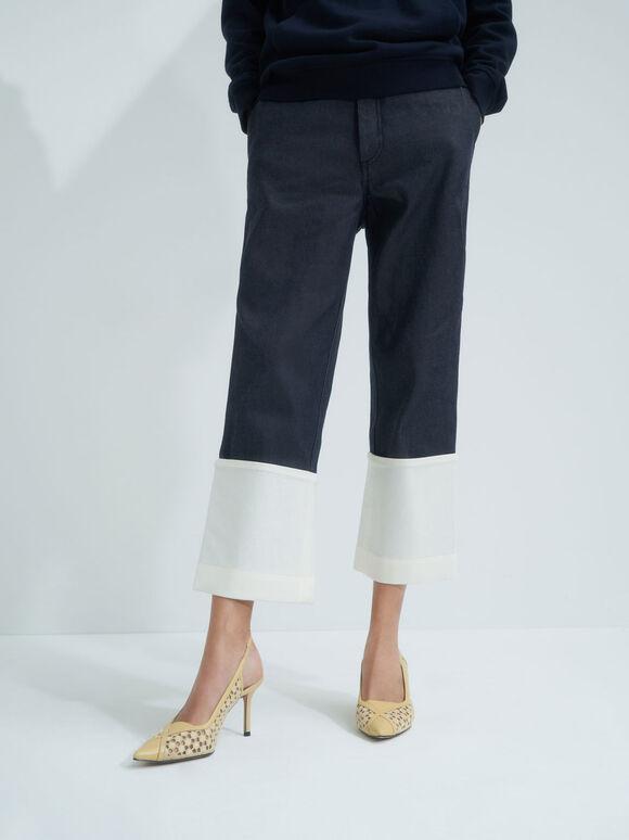 Crotchet & Leather Slingback Pumps, Yellow, hi-res
