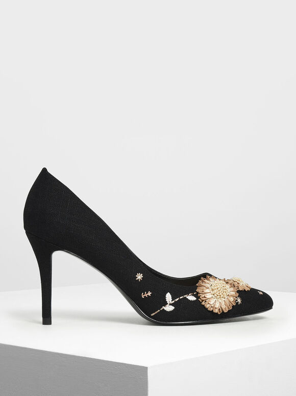 Floral Pumps, Black, hi-res