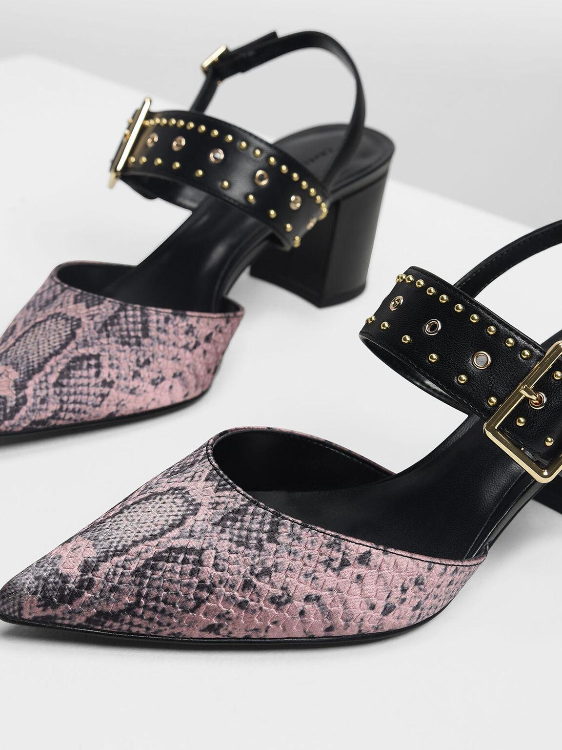 Snake Print Studded Slingback Heel, Light Pink, hi-res
