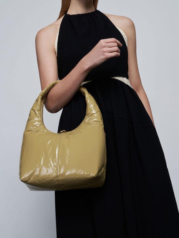 Wrinkled-Effect Large Hobo Bag, Sand, hi-res