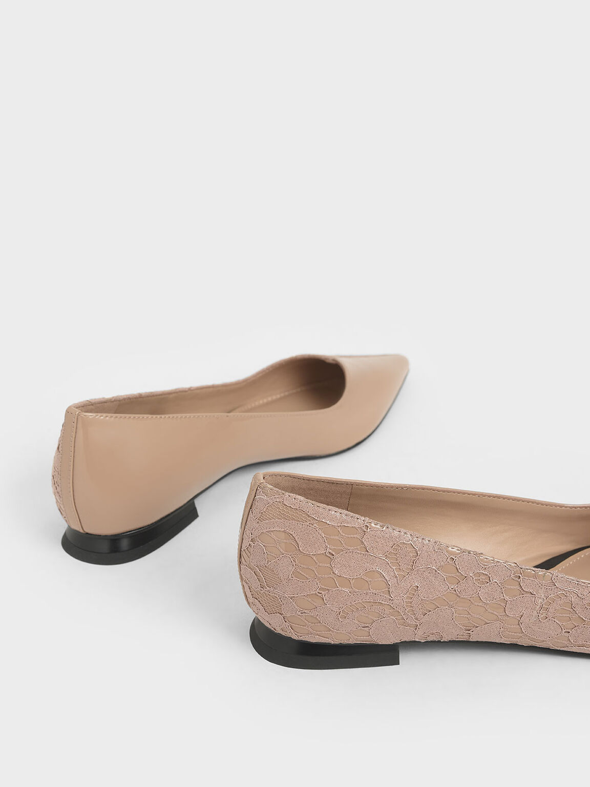 Patent Leather Lace Ballerina Flats, Nude, hi-res