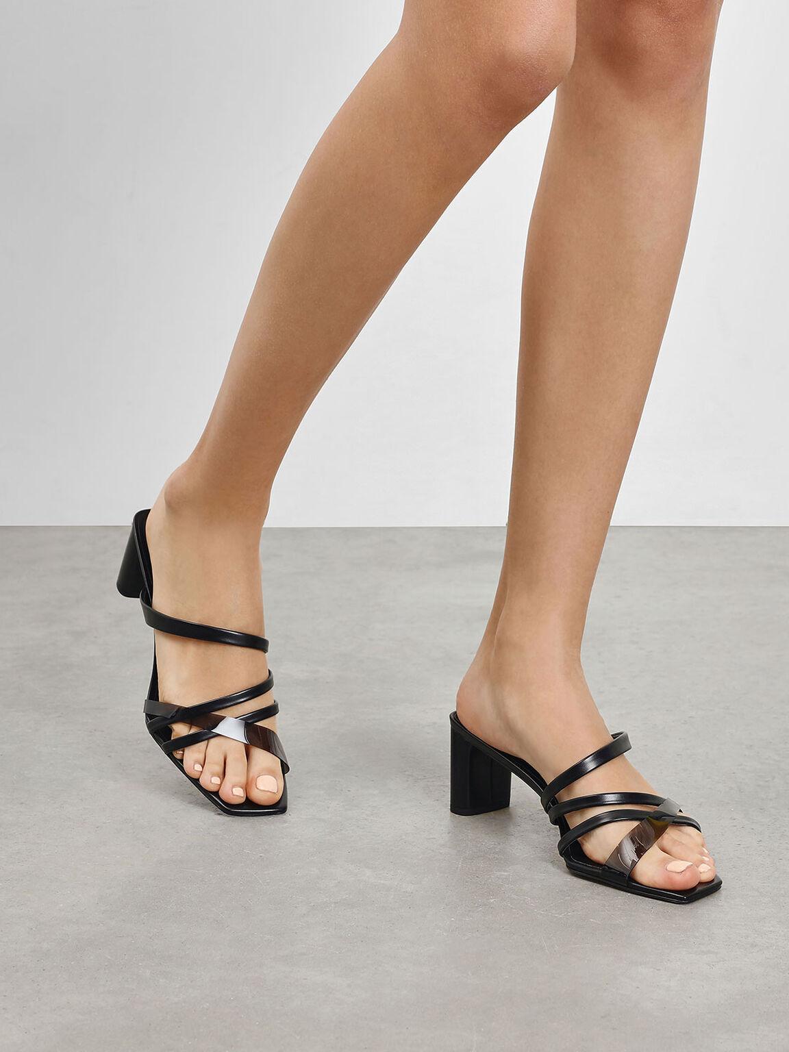 Strappy Slide Sandals, Black, hi-res