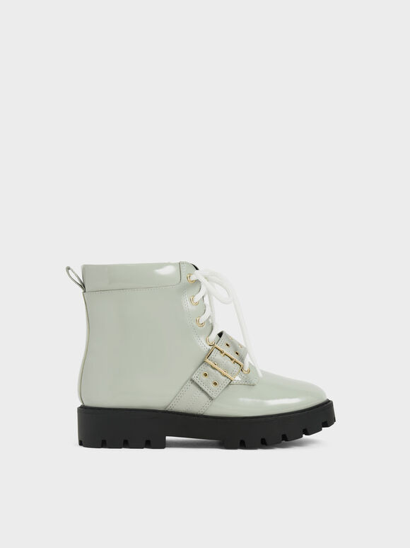 Girls' Patent Lace-Up Ankle Boots, Sage Green, hi-res