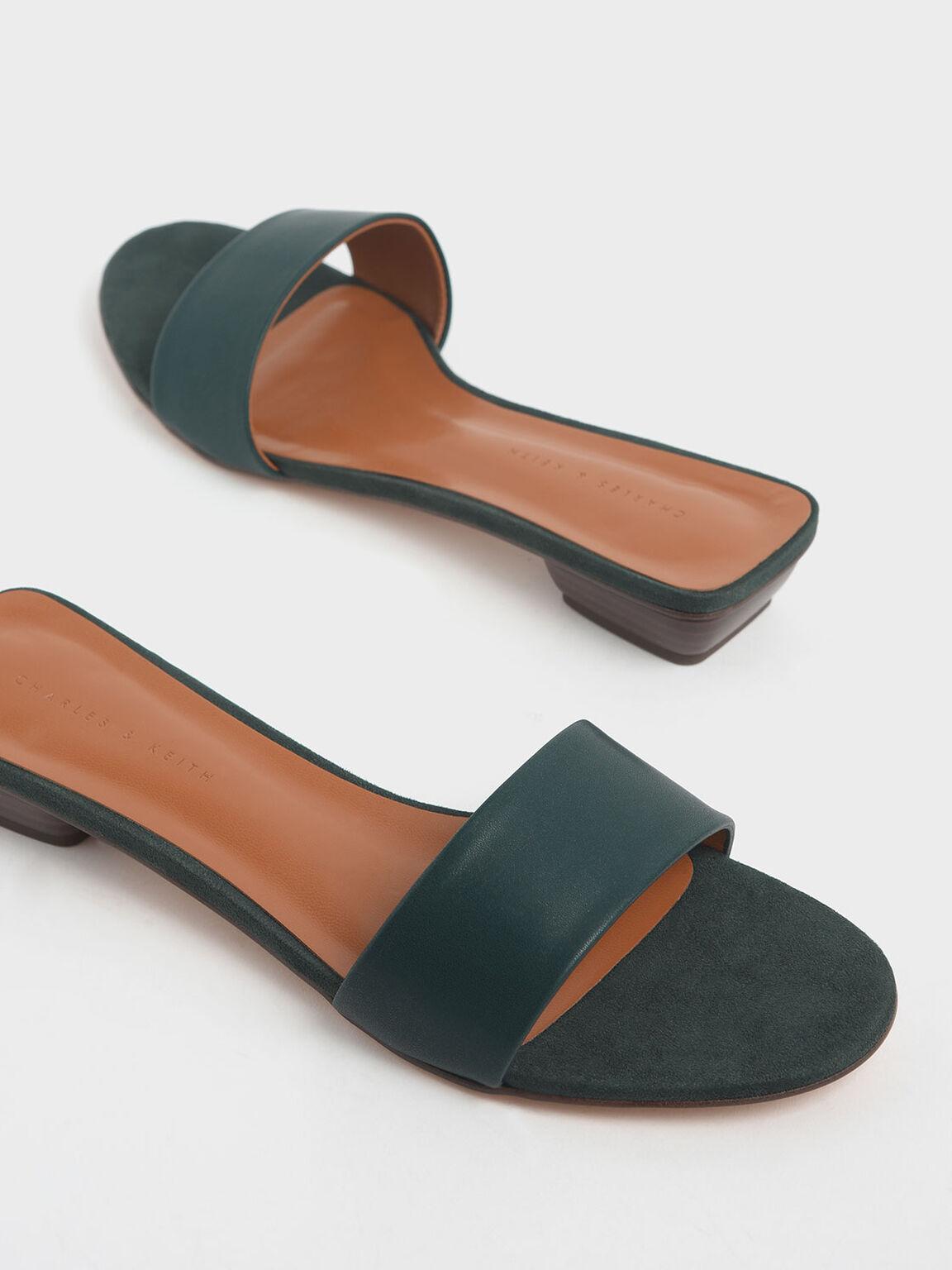 Stacked Heel Slide Sandals, Dark Green, hi-res
