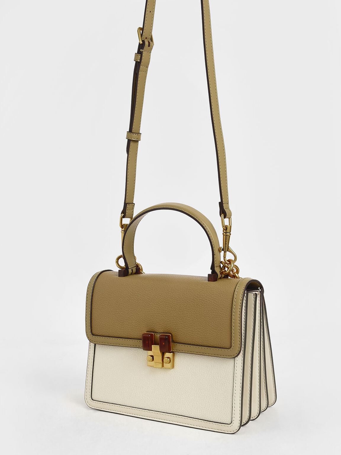 Chunky Chain Strap Bag, Cream, hi-res