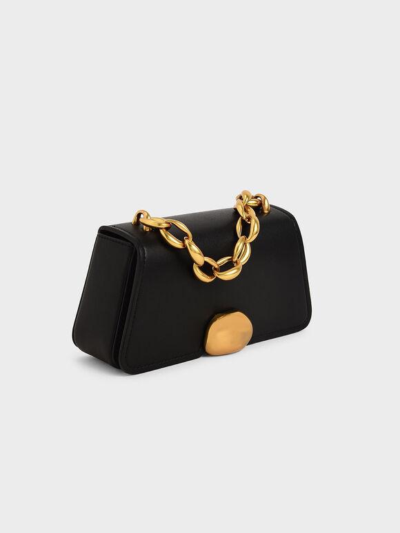 Metallic Chain Top Handle Bag, Black, hi-res