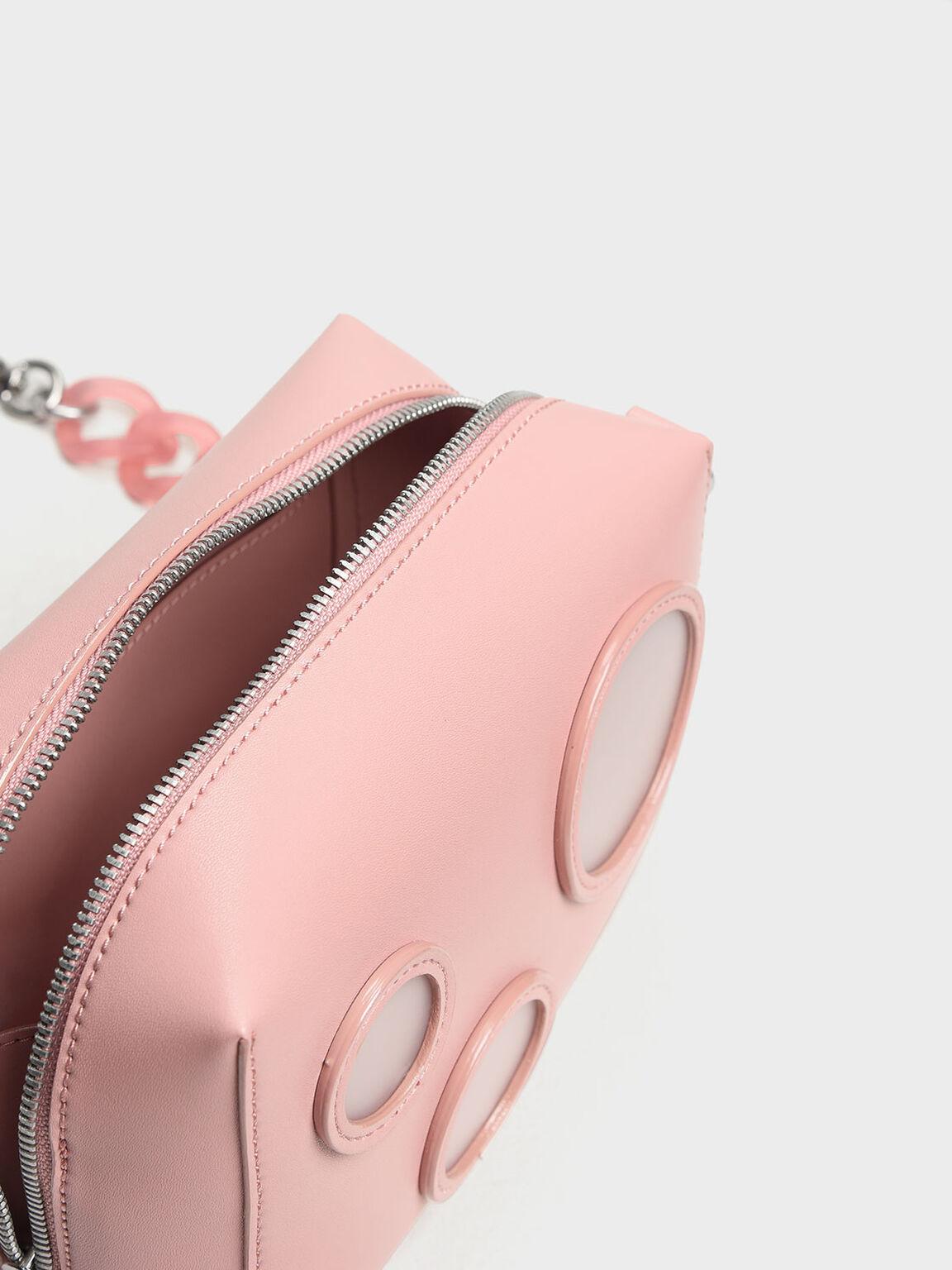 Bubble Detail Crossbody Bag, Pink, hi-res