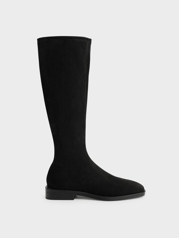 Textured Knee High Flat Boots, Black Textured, hi-res