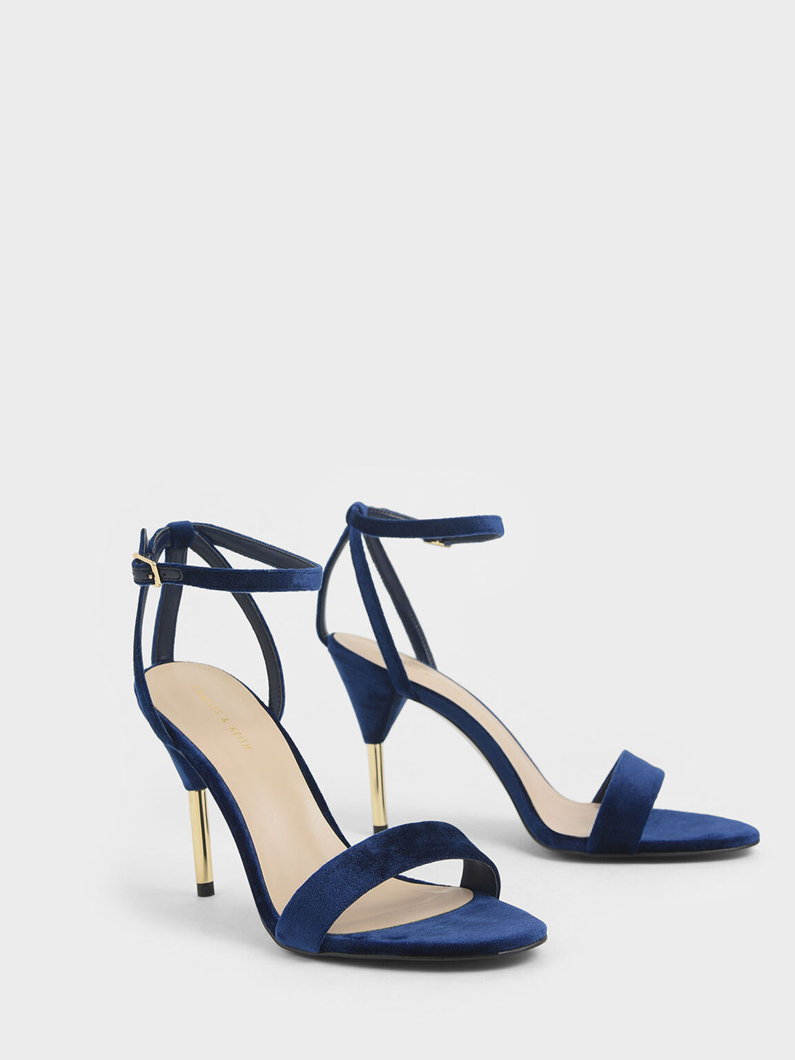 Velvet Stiletto Heels, Dark Blue, hi-res
