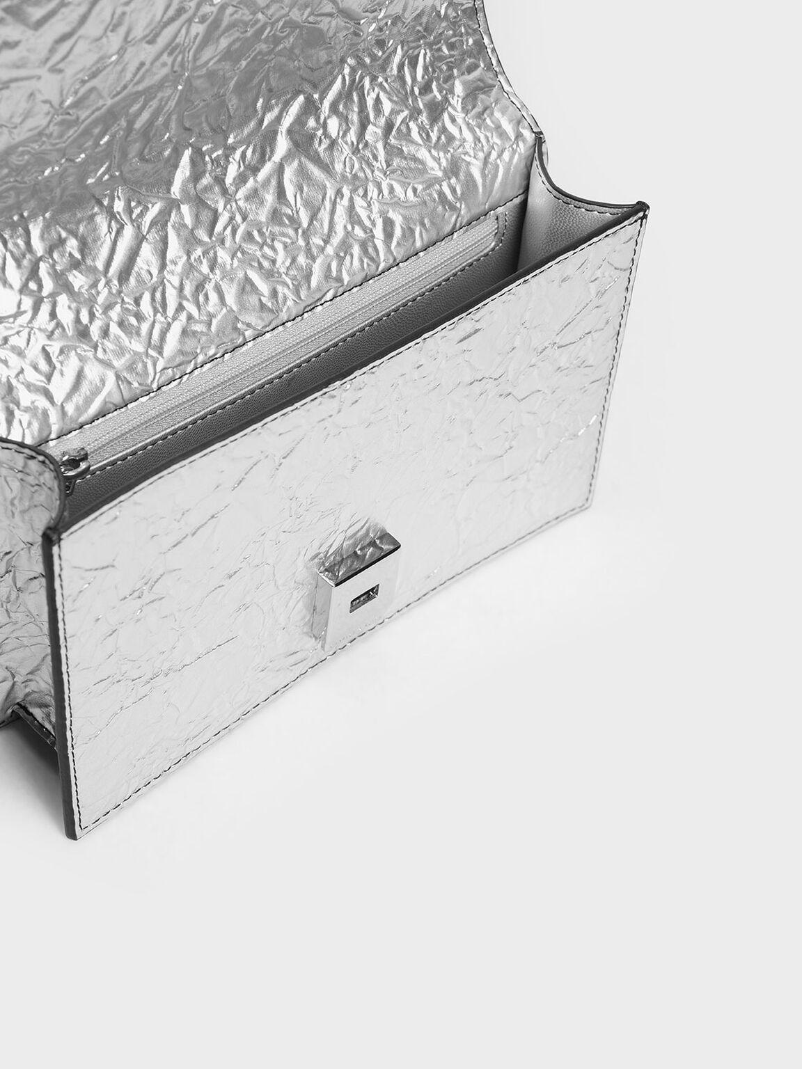Single Chain Handle Push Lock Bag, Silver, hi-res
