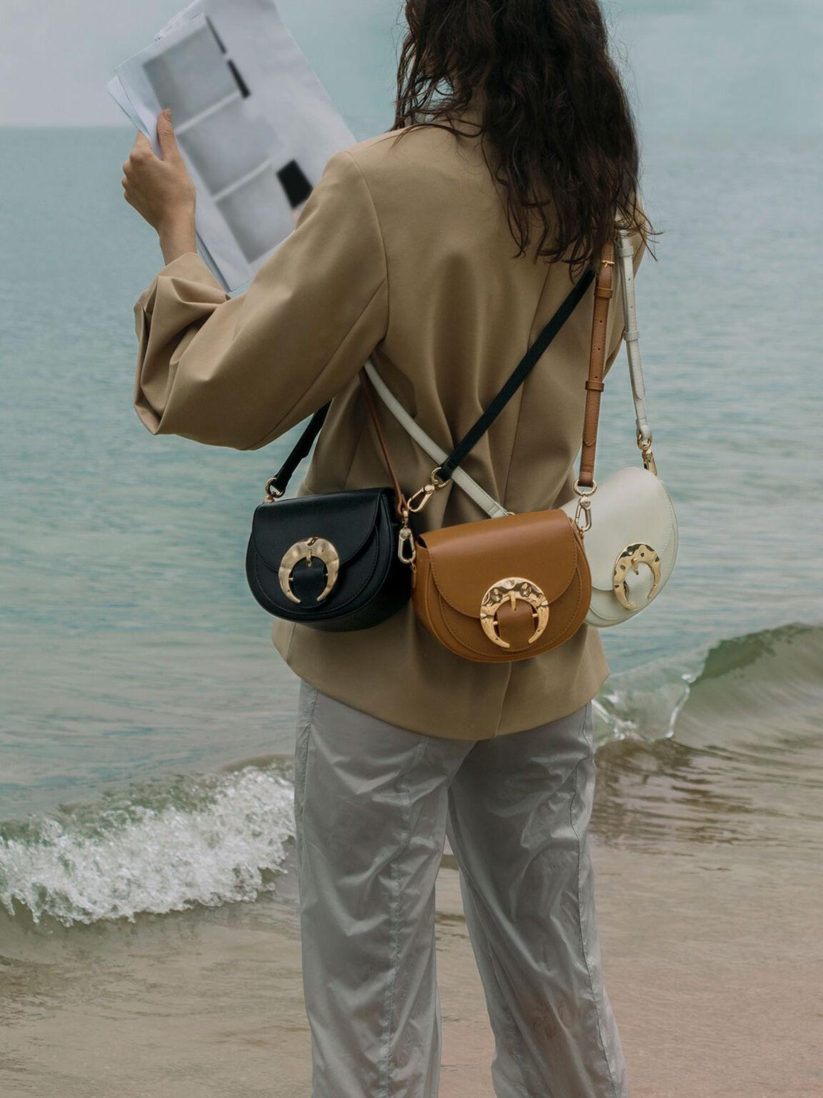 Leather Saddle Bag, Chalk, hi-res