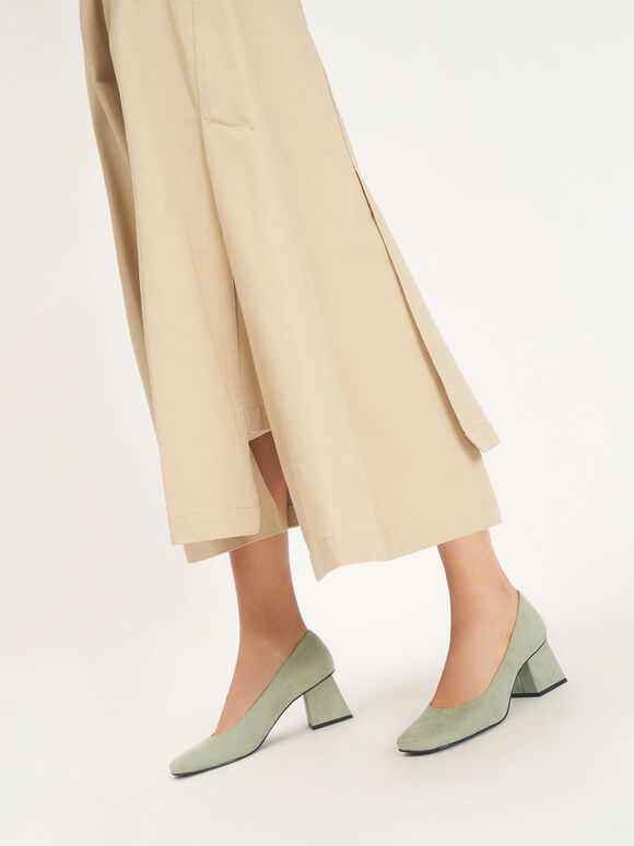 Textured Trapeze Heel Pumps, Sage Green, hi-res