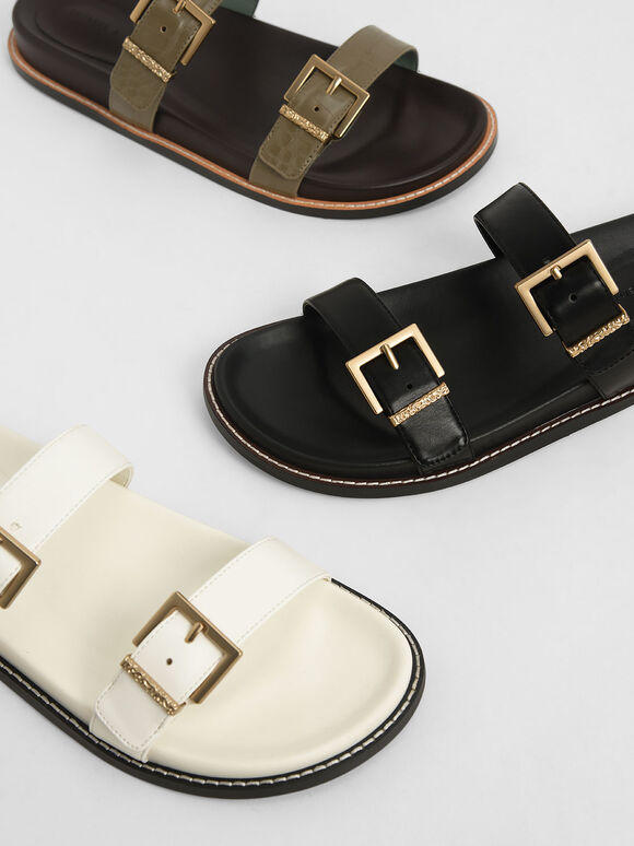 Buckle Double Strap Flats, White, hi-res