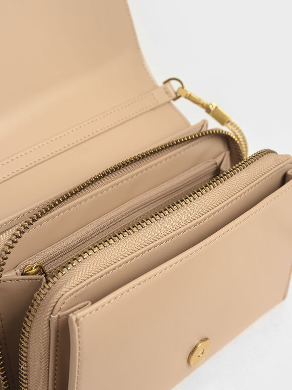 Metallic Edge Crossbody Bag, Beige, hi-res