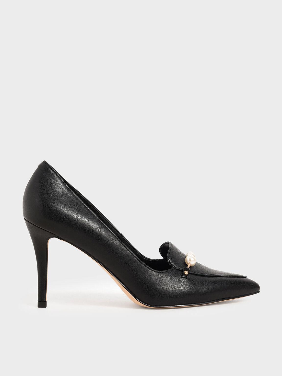Embellished Loafer Pumps, Black, hi-res