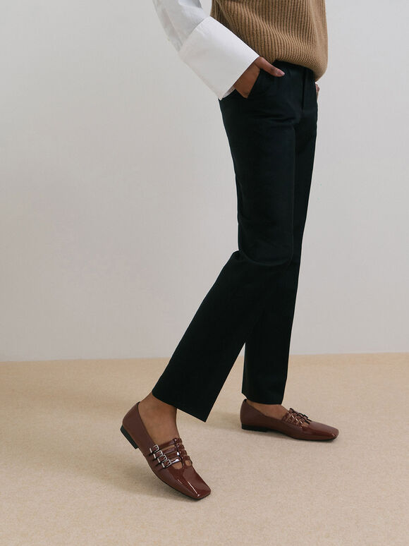 Patent Buckled Mary Jane Flats, Cognac, hi-res