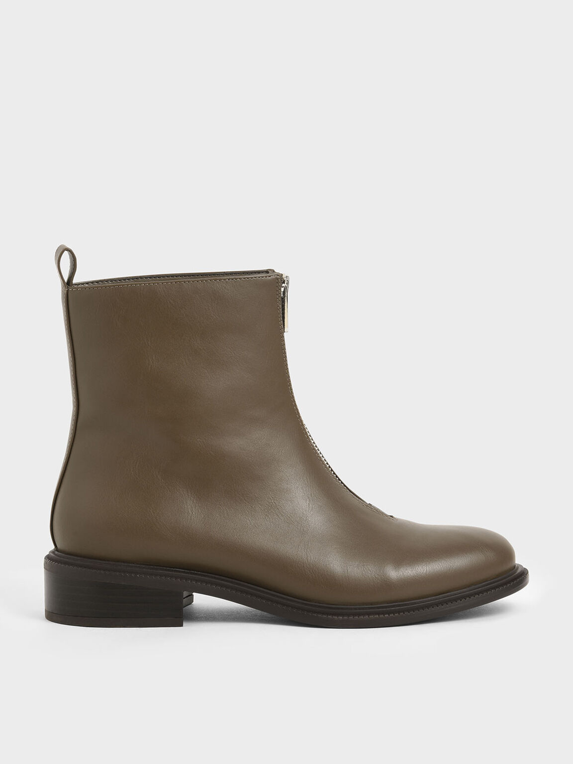 Front Zip Ankle Boots, Dark Brown, hi-res