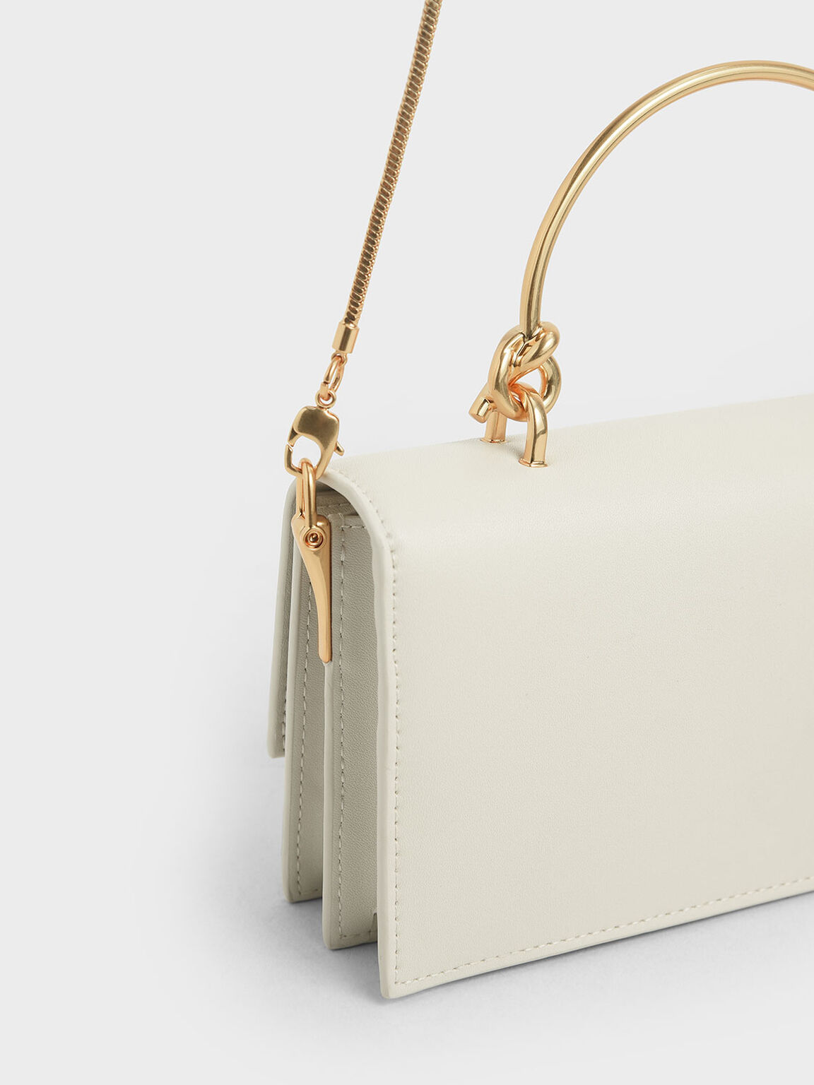 Metal Top Handle Long Wallet, Cream, hi-res