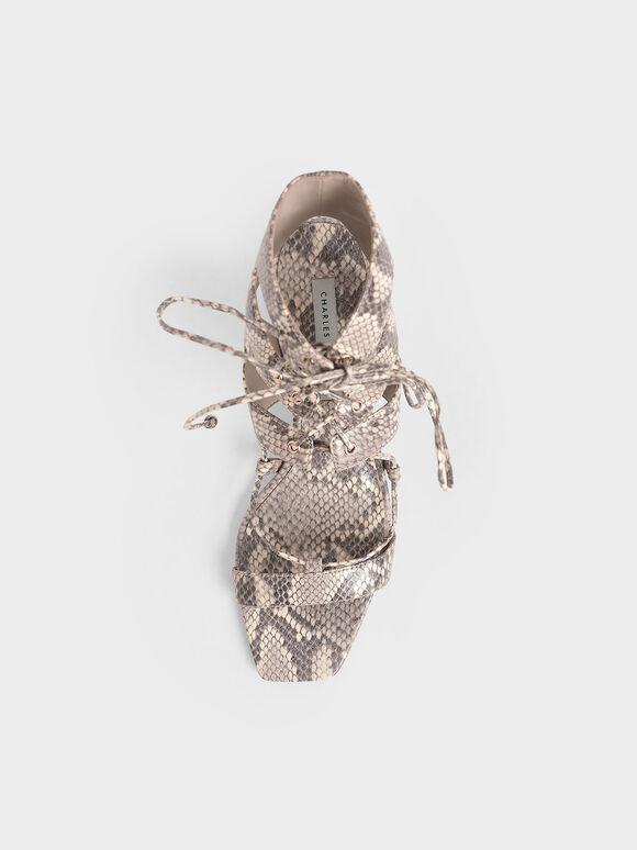 Snake Print Tie-Around Sandals, Animal Print Natural, hi-res