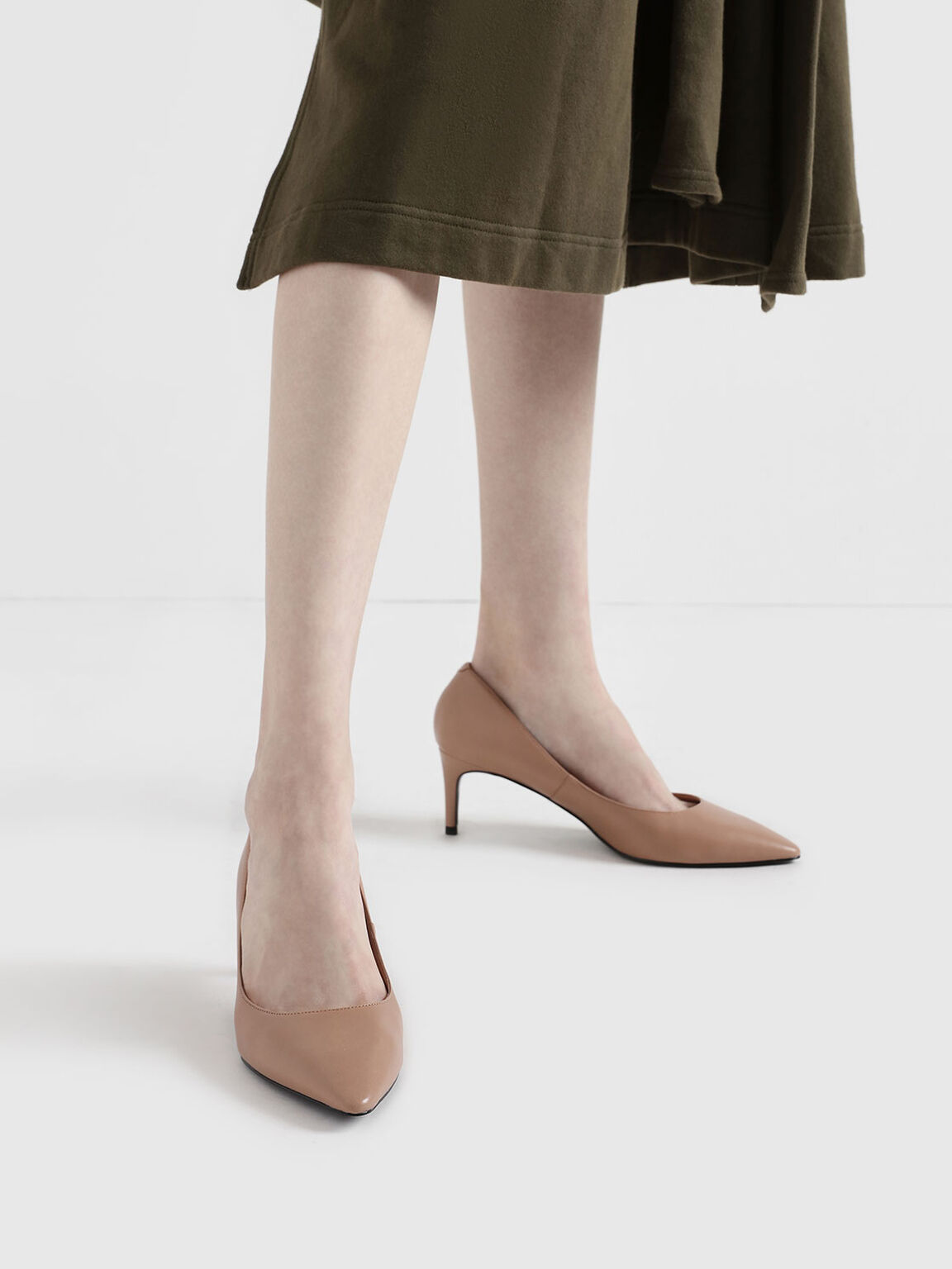 Classic Pointed Toe Pumps, Nude, hi-res