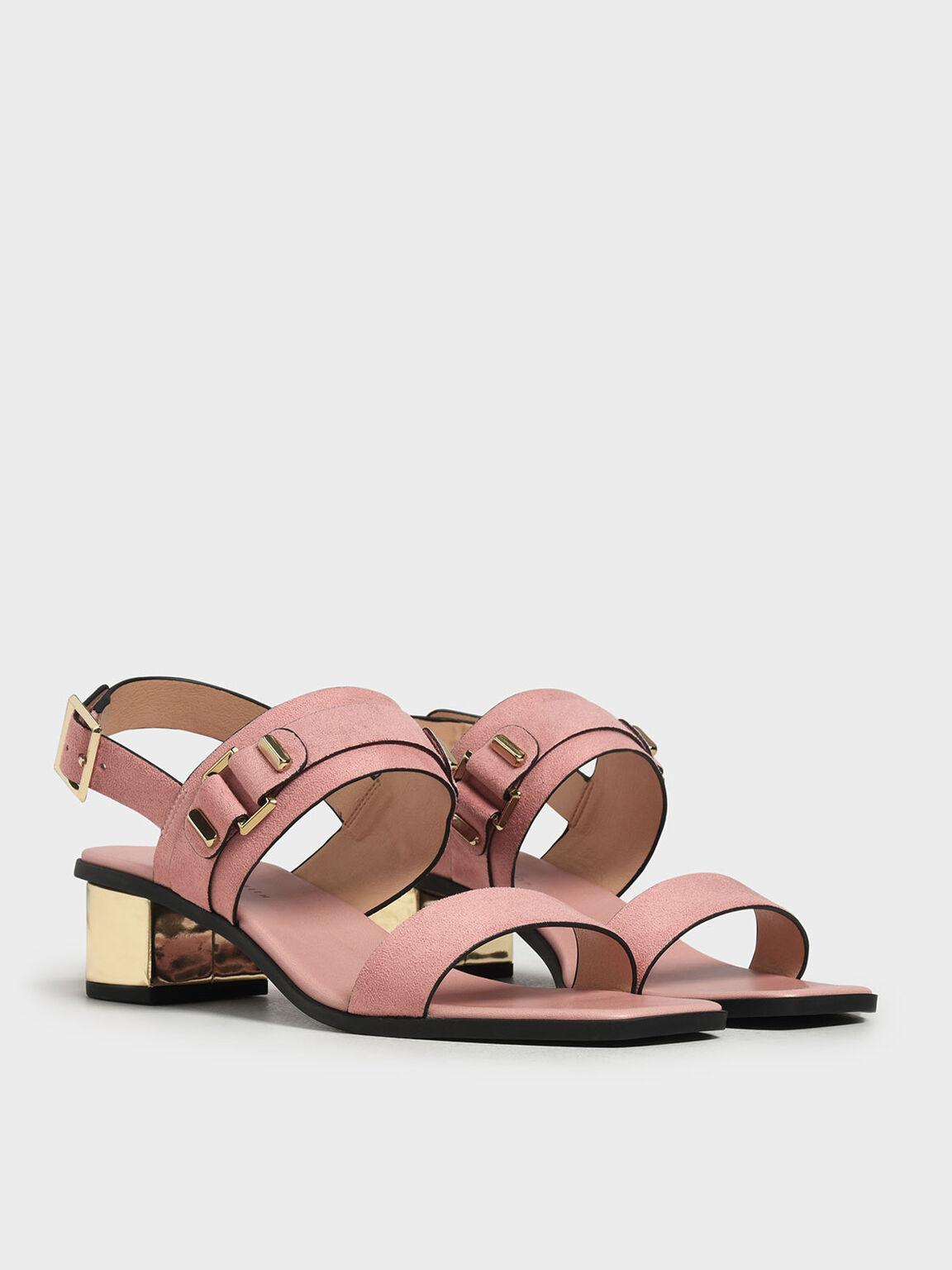 Chrome Block Heel Sandals, Blush, hi-res