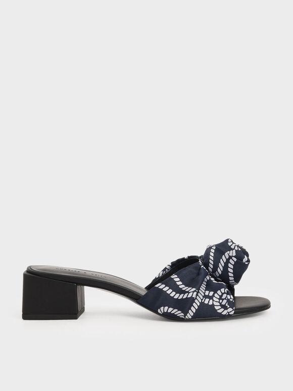 Jacquard Front Knot Slide Sandals, Dark Blue, hi-res