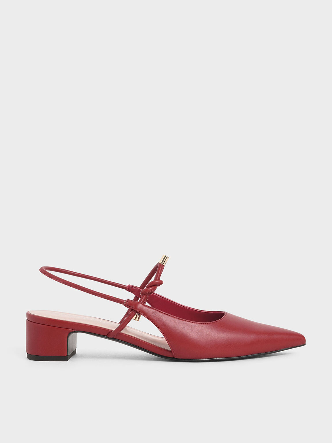 Front Tie Slingback Pumps, Red, hi-res