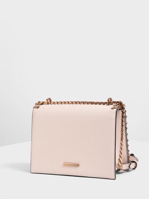 Chain Trim Crossbody Bag, Pink, hi-res