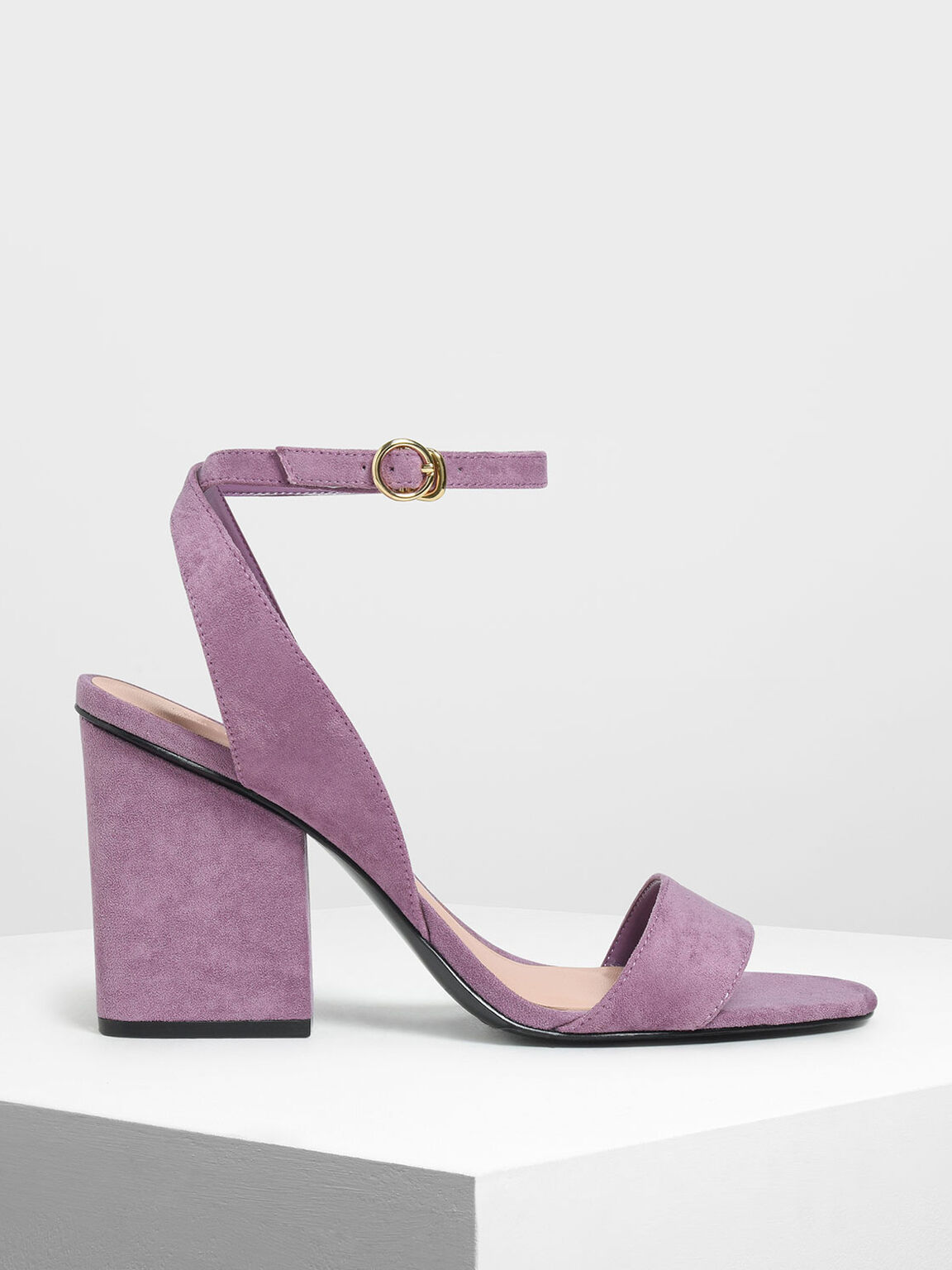 Ankle Strap Block Heel Sandals, Lilac, hi-res