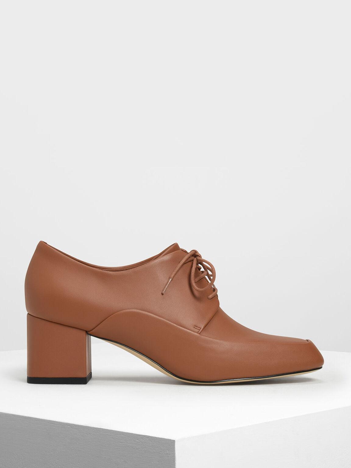 Block Heel Derby Shoes, Cognac, hi-res