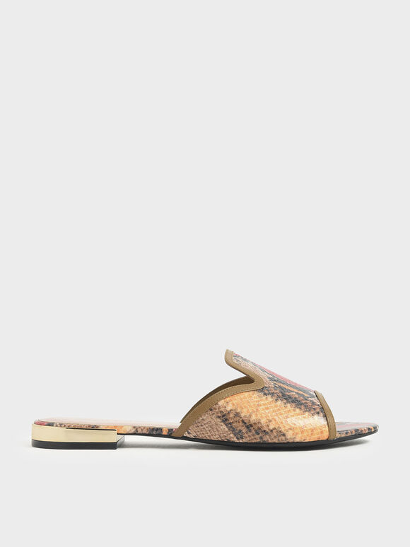 Snake Print Slide Sandals, Multi, hi-res