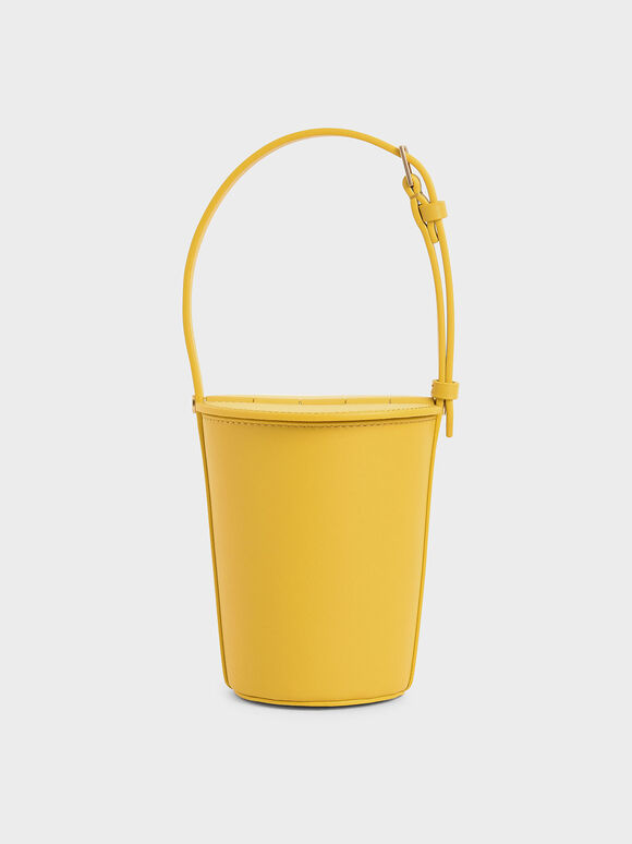 Cylindrical Bucket Bag, Yellow, hi-res
