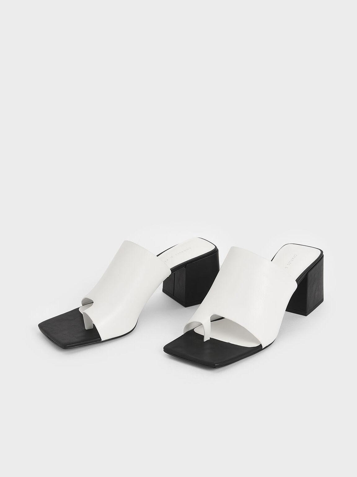 Toe Loop Chunky Heel Mules, White, hi-res