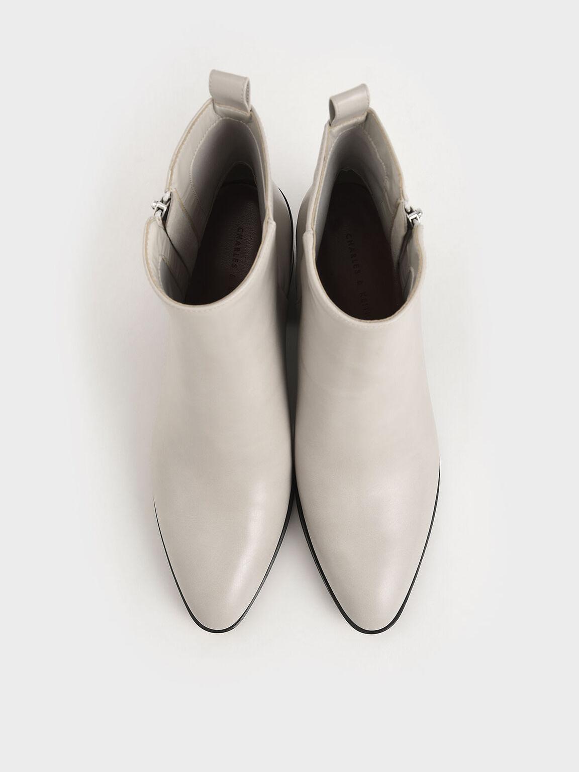 Side Zip Heeled Ankle Boots, Light Grey, hi-res