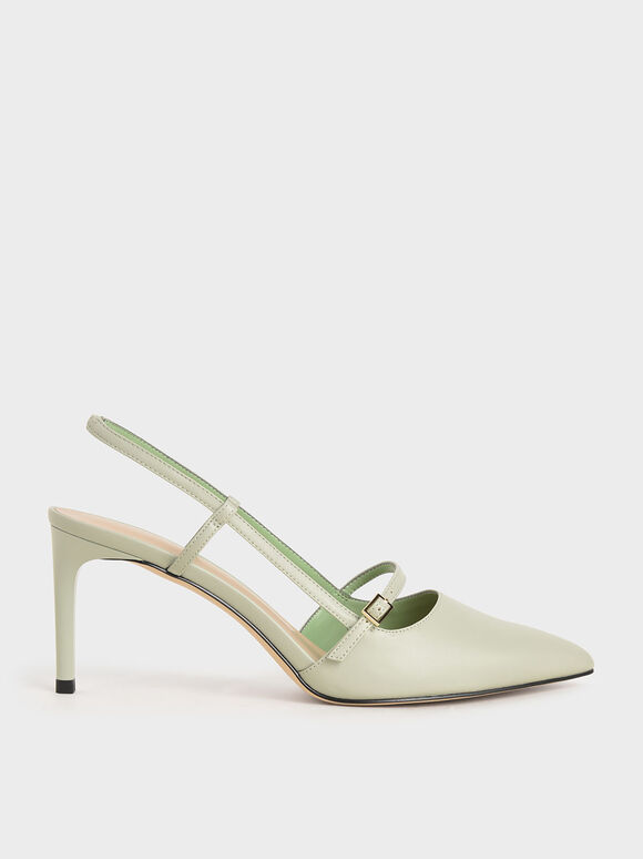 Mary Jane Slingback Pumps, Mint Green, hi-res