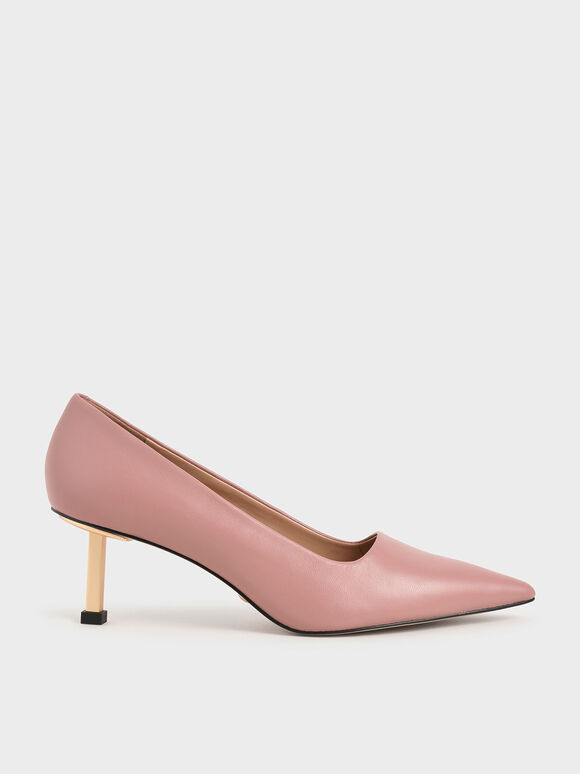 Leather Kitten Heel Court Shoes, Pink, hi-res