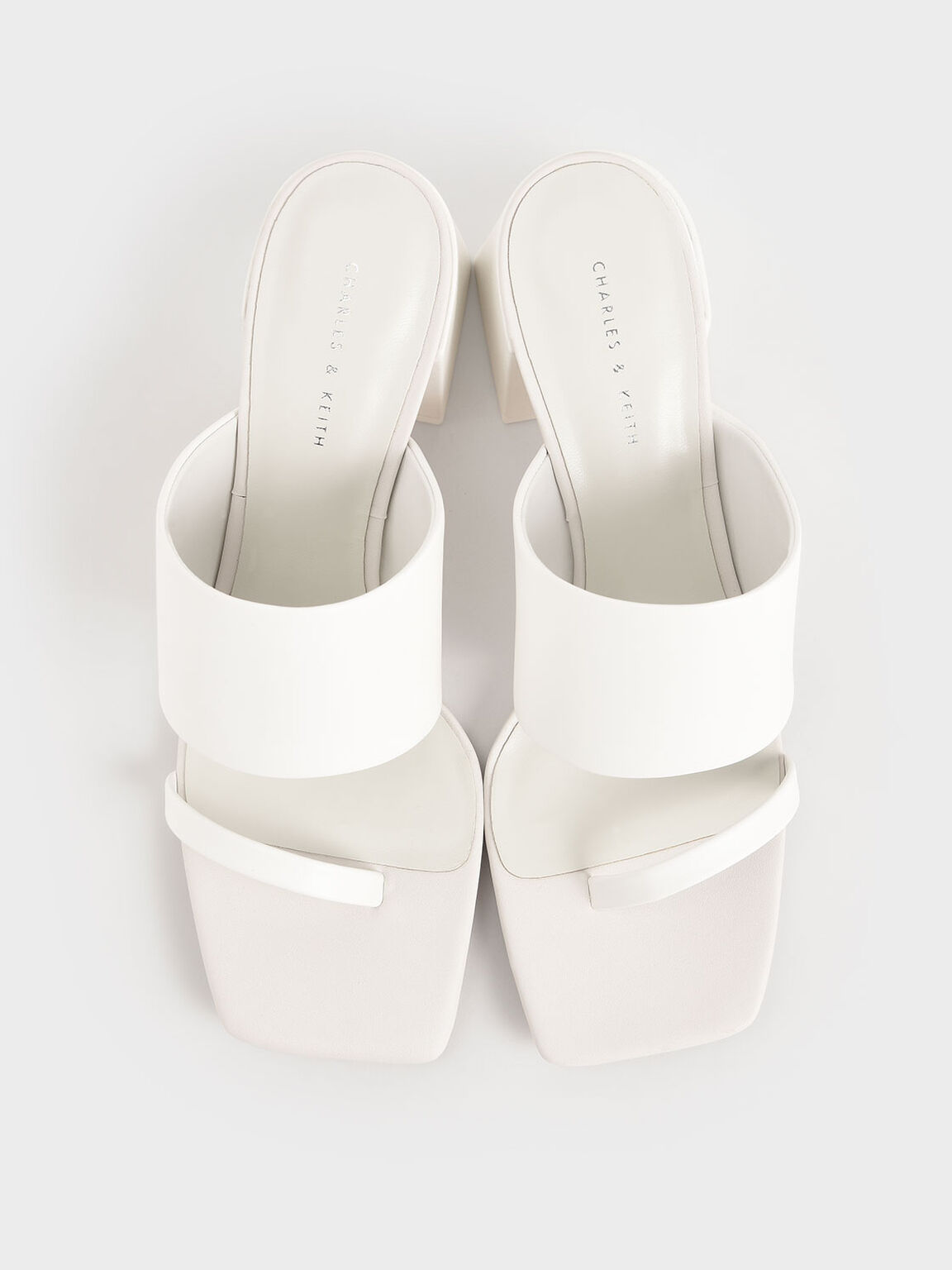 Block Heel Mules, White, hi-res