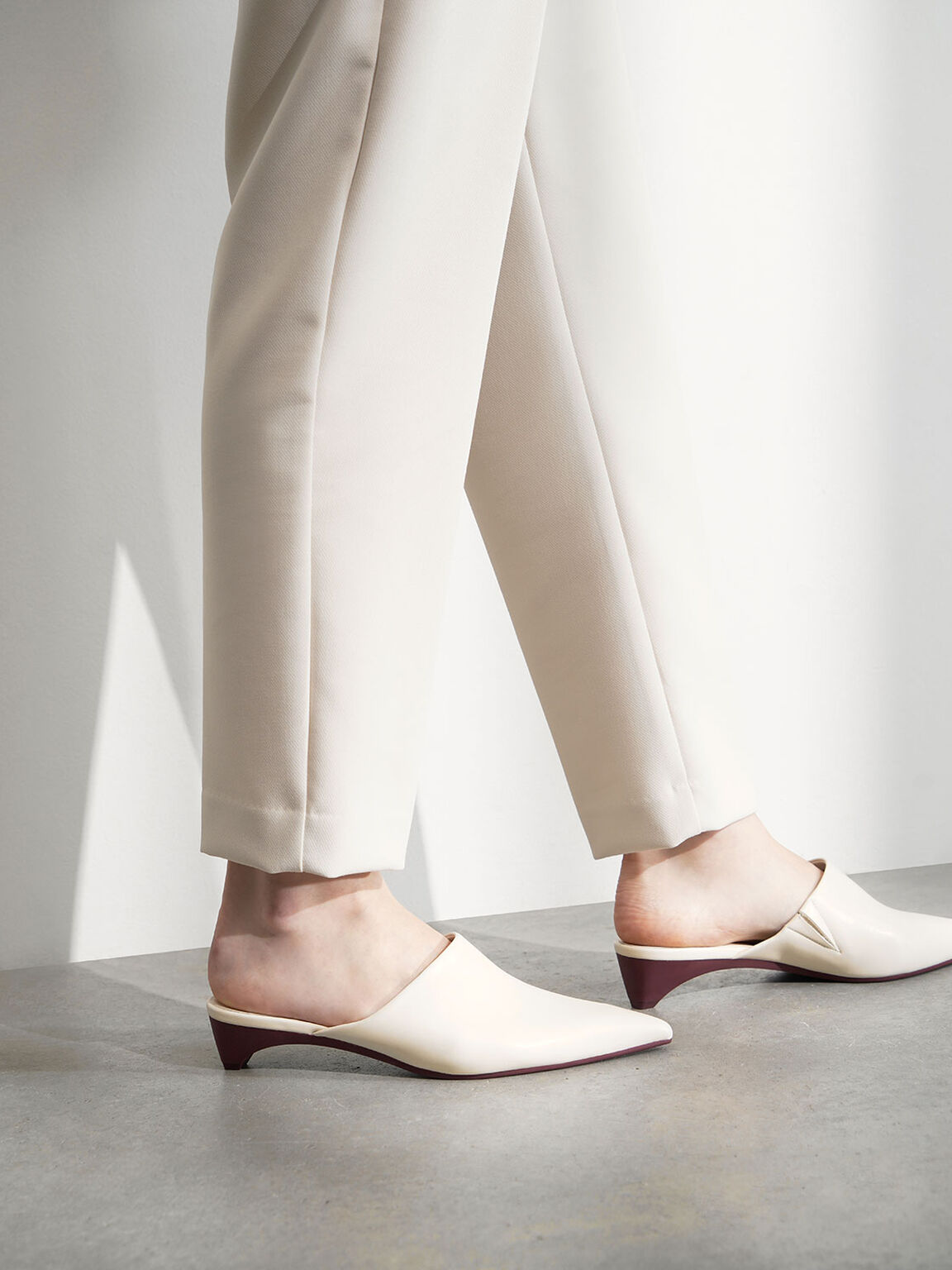 Pointed Toe Mules, Cream, hi-res