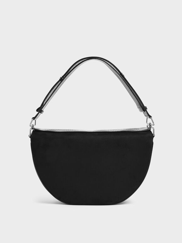 Textured Saddle Bag, Black, hi-res