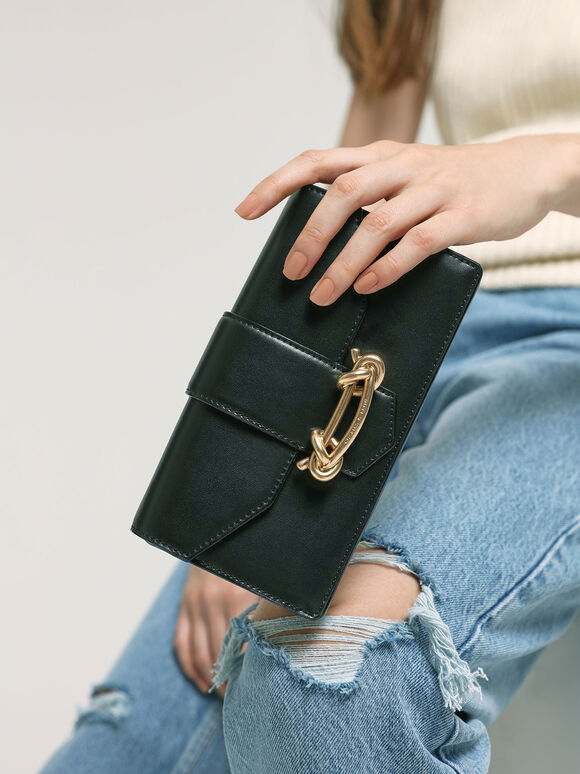 Metallic Buckle Mini Long Wallet, Black, hi-res