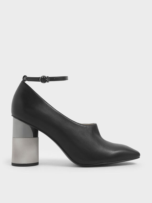 Ankle Strap Concrete Heel Pump, Black, hi-res