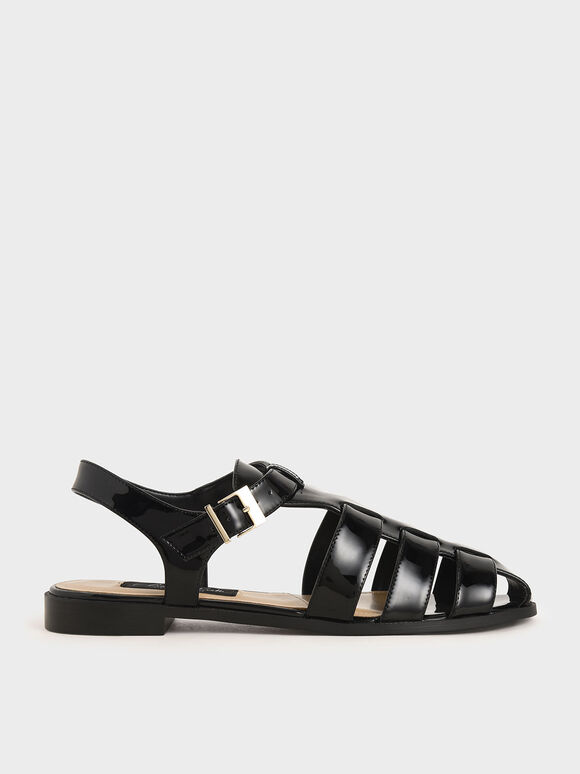 Patent Leather Caged Sandals, Black, hi-res