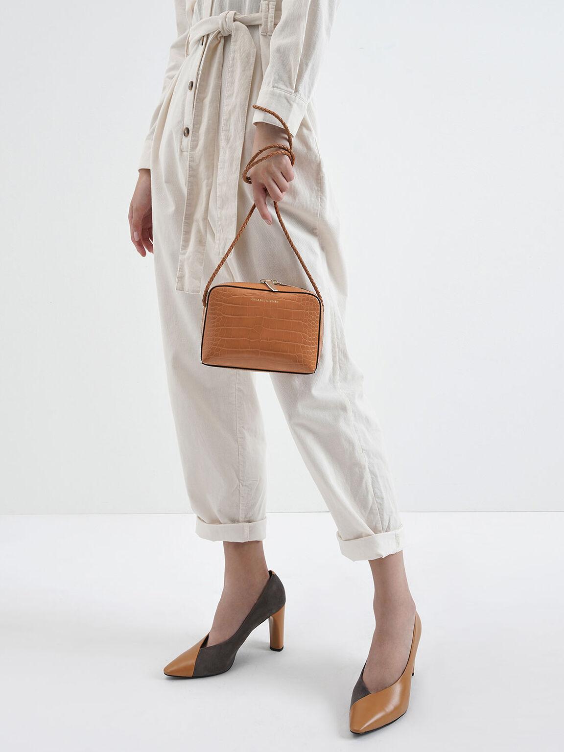 Croc-Effect Mini Rectangular Crossbody Bag, Tan, hi-res